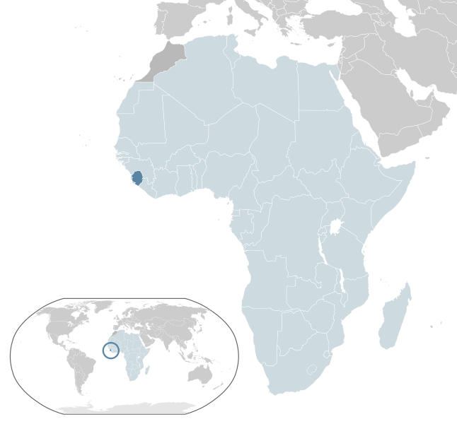 African map with Sierra Leone highlighted