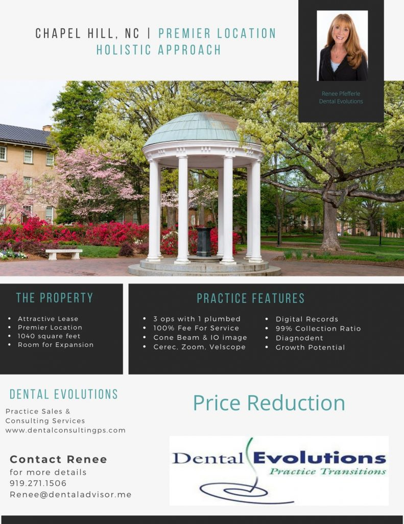 ad for Chapel Hill biological dental office sale