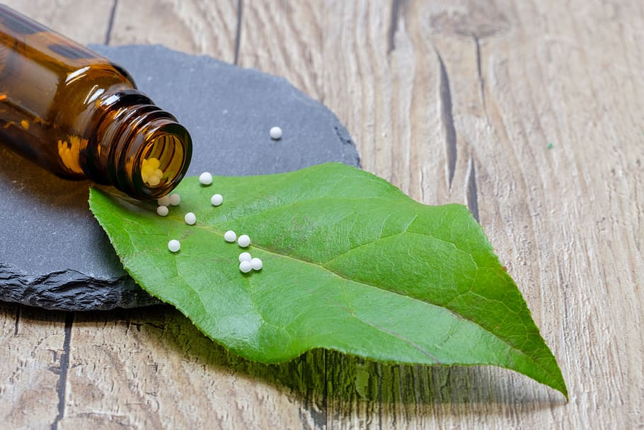 homeopathic remedy on leaf