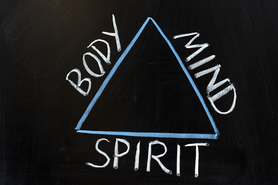 triangle with the words body mind and spirit